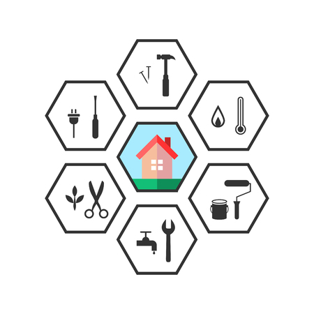 House and work tool icons in line art as repair concept