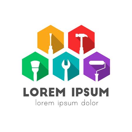 Concept de logo de construction, de réparation et de maintenance avec des icônes d'outils de travail. Design plat coloré à grandissime.