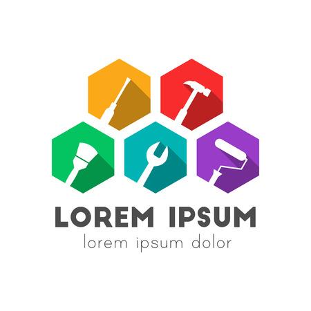 Logo-Konzept für Arbeitsgeräte. Seitwärts geneigte Symbole. Buntes flaches Design mit langem Schatten. Logo