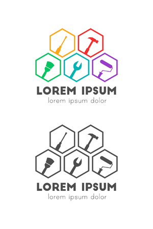 Tools as logo concept. Tilted icons in hexagon shape. 向量圖像