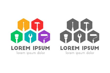 Repair and maintenance logo design with tools in flat design