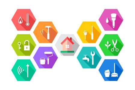Koncepcja zarządzania obiektem z domem i powiązanymi narzędziami roboczymi w kolorowej płaskiej konstrukcji. Ikona w kształcie sześciokąta.