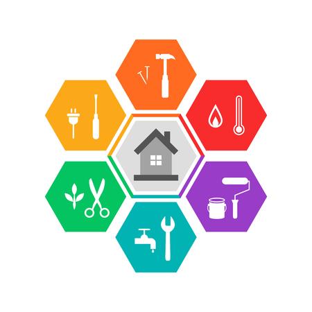 Huis en werk tools concept in kleurrijk plat ontwerp. Pictogrammen in zeshoekige vorm. Vector Illustratie