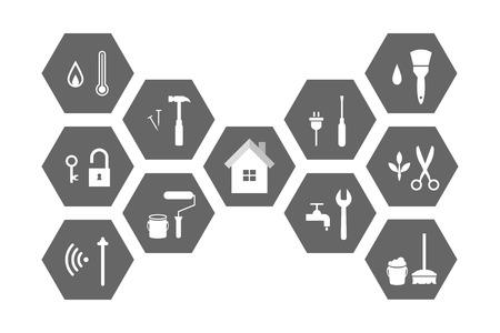 Concept de gestion des installations avec bâtiment et outils de travail. Ensemble d'icônes étendu et illustration.