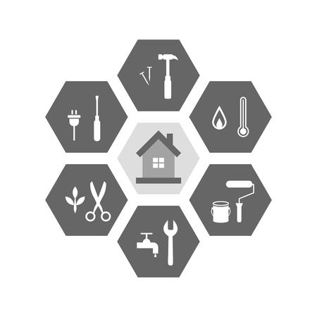 Huis- en werkgereedschap eromheen als reparatie- en renovatieconcept. Pictogrammen in zeshoekige vorm.