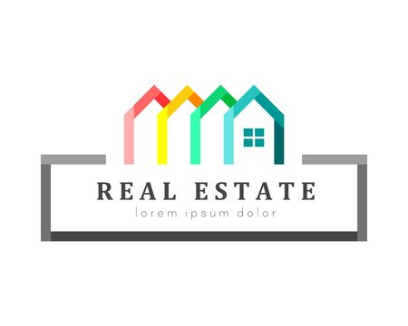 Real estate and house logo. Colorful houses as variety concept.
