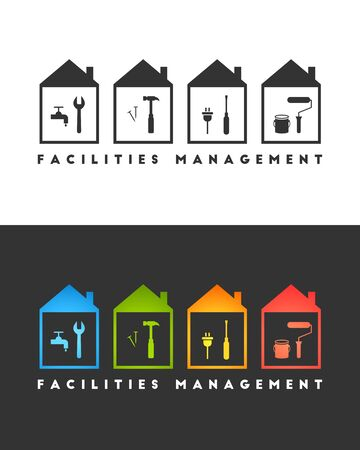 Facilities management logo concept. Wrench, hammer, screwdriver amd paint roller icons.