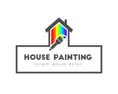 House painting logo concept with paintbrush. House made of color spectrum.