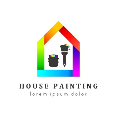 House painting logo concept with paint can and paintbrush. House in colorful and unique design.