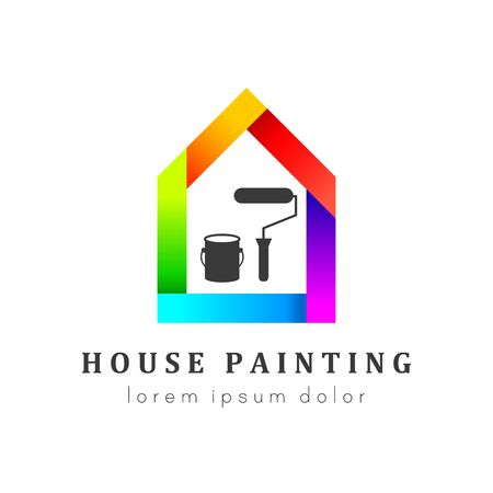 House painting logo concept with paint bucket and roller. House in colorful and unique design. Ilustração