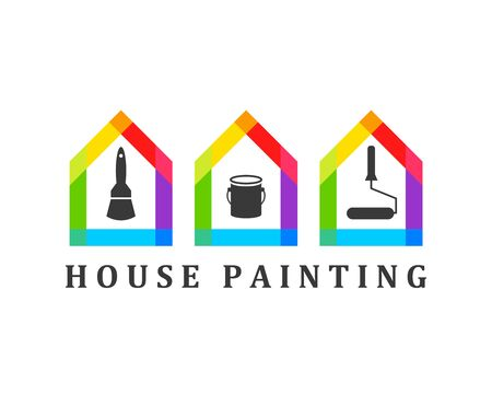 House painting concept with paint brush, bucket and roller icons Ilustração