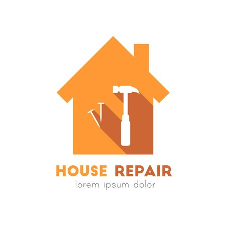 House repair logo with nail and hammer icons in flat design Ilustração