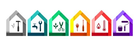 House set with various work tools as building and construction concept. Hammer, wrench, clipper, screwdriver, themometer and paint roller icons. Ilustração