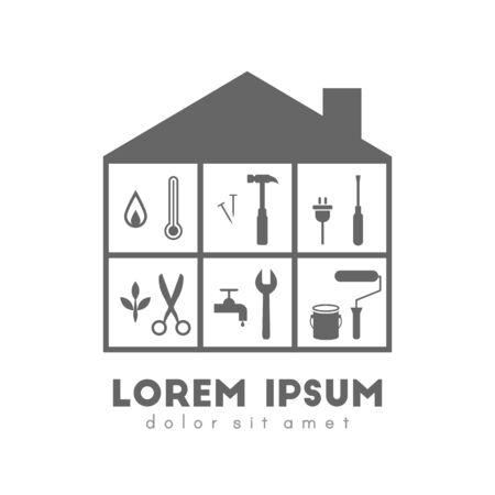 Building with tools inside logo concept