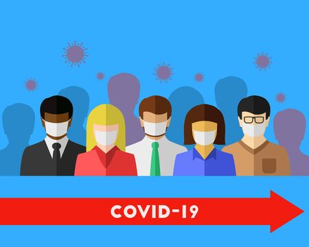 Spreading COVID-19 and coronavirus concept. The virus spreads in a crowd and leads to infection, but the people who wear a face mask avoid it. Vector illustration in flat design. Ilustração