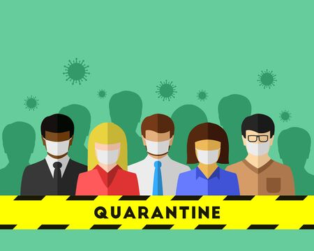 Coronavirus, COVID-19 and quarantine concept. Diverse people in a crowd quarantined behind a yellow-black barricade tape due to the infectious disease.