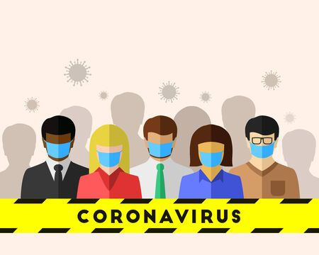 Coronavirus and COVID-19 as an epidemic concept with an ethnically diverse group of people. Every person wears a face mask for safety and protection. Vector illustration with copy space.