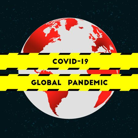 COVID-19 and globe as a global pandemic concept. Coronavirus and epidemics all around the planet Earth. Barricade tape and warning stripe as quarantine symbol.