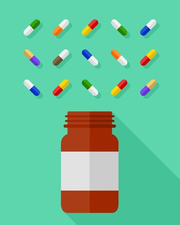 Pill bottle and an assortment of multicolor pills and capsules beautifully arranged on a green background. Medicine and medication concept in flat design.