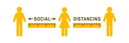Social distancing sign with people apart from each other. Ruler showing correct distance or gap between them.