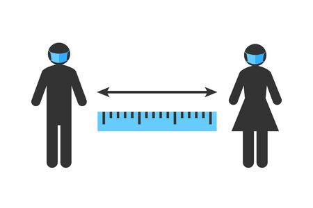 Social distancing sign. Stick figure people with face masks and ruler displaying the correct distance between them. Prevention and safety measure concept during coronavirus and COVID-19 pandemic.