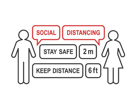 Social distancing concept with man and woman outline apart and speech bubbles filling the gap and distance. Prevention and safety measure against coronavirus. Ilustração
