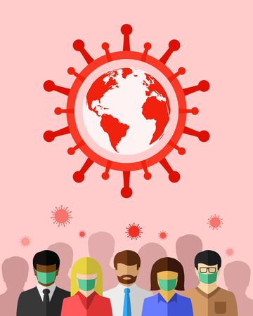 Coronavirus, COVID-19 and global pandemic concept with crowd consisting of diverse group of people Ilustração