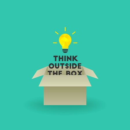 Think outside the box concept with bright lightbulb and text emerging out of cardboard box