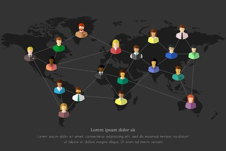People and network concept with lines connecting them together on a dark world map Ilustração