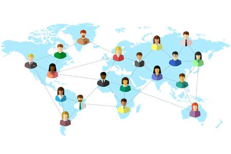 Diverse people and world map concept with dotted line as global connection symbol. Colorful flat design on white background.
