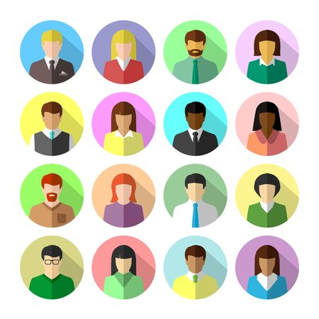 Icon set of diverse business people in colorful flat design. Avatar in circle shape with long shadow. Ilustração