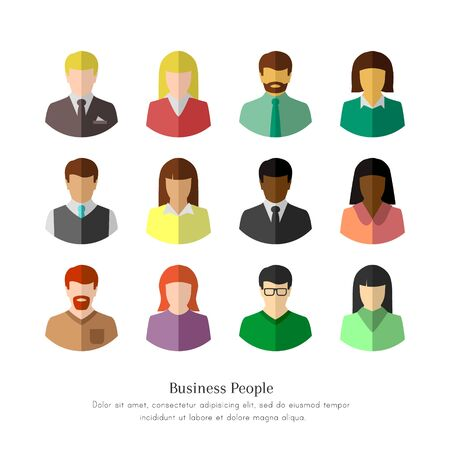 Diverse business people in flat design. Isolated icon set on white background.