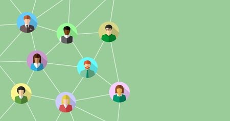 Network concept with diverse people connecting to each other. Abstract business and social networking banner background. Ilustração