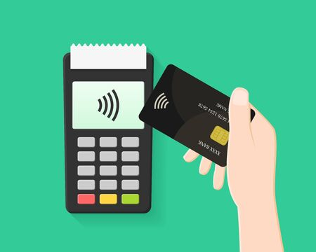 Hand paying with contactless and wireless card in flat design. POS terminal and transaction with NFC technology. Ilustração