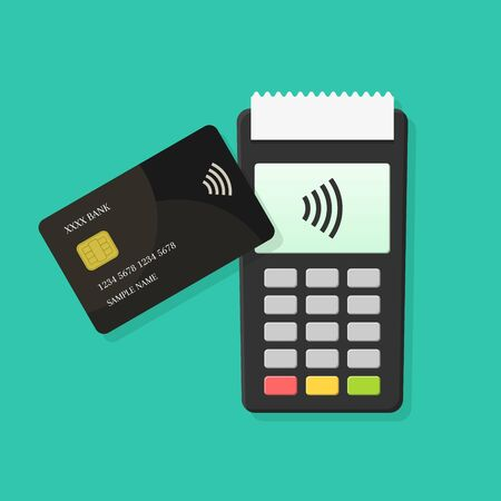 Contactless payment with POS terminal and credit or debit card in flat design