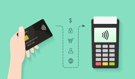 Contactless payment concept with hand holding card and POS terminal in flat design Ilustração