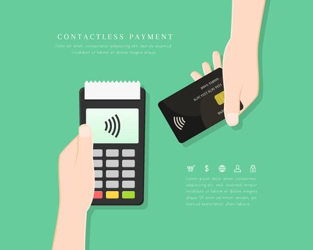 Contactless payment with POS terminal and hand holding card