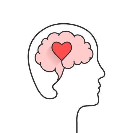 Human head and brain silhouette with heart shape as love, mental health or emotional intelligence concept Ilustração
