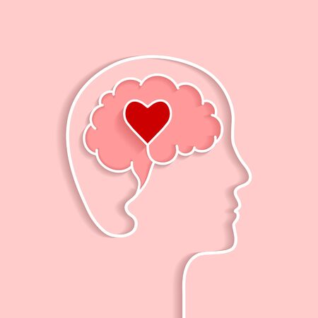 Head and brain outline with heart concept. Vector illustration in flat design with shadow on light pink background.