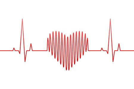 Red heartbeat, heart rate line and wave as love or health and medicine concept. Creative vector illustration. Ilustração