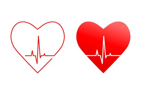 Heart and heartbeat or heart rate line concept. Silhouette and outline icons with red pulse, wave and life signal as healthy medical condition symbol.