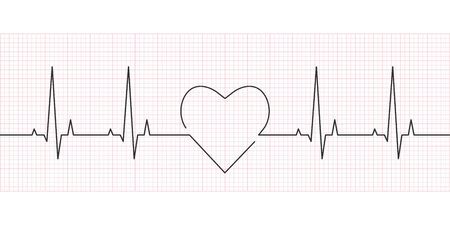 Heartbeat line. Heart rate, cardiogram and ECG concept. Vector illustration.