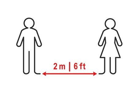 Social distancing sign. People standing apart and keeping a 2 meter or 6 feet distance from each other. Outline and line art.