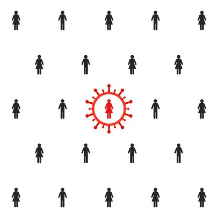 Social distancing concept. People in a crowd keeping a safe distance and stopping the spread of virus. Vector Illustration