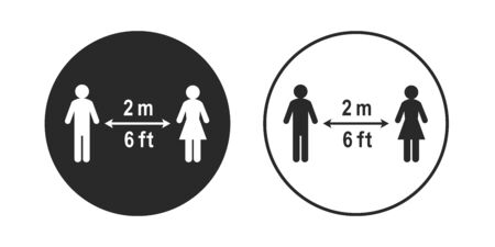 Social distancing sign in circle shape. Stick figure people keeping a 2 meter or 6 feet distance. Circular icon, vector illustration and pictogram isolated on white background. Ilustração