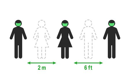 Social and physical distancing concept. People keeping a 2 meter or 6 feet distance instead of standing close to each other.