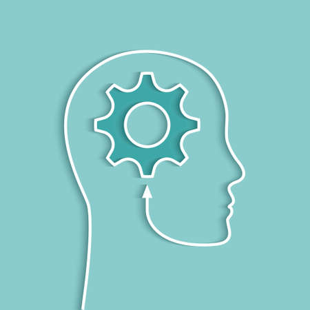 Head silhouette and gear as human brain and thinking concept with shadow on light blue background
