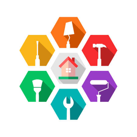 House maintenance, repair, renovation or facility management concept with home and work tools: hammer, paint roller, wrench, paintbrush, screwdriver, trowel. Isolated icons in colorful flat design.