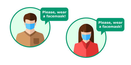 Man and woman wearing face mask as a sign or icon concept with speech bubble reminding politely that doing so is required and mandatory. Male and female in flat design, isolated on white background.