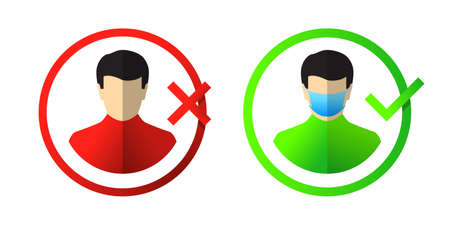 Face mask icon or sign. Correct way of wearing mask , pandemic. Person does not wear mask in red, but then wears one in green circle with check mark.